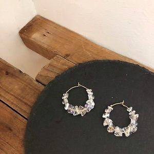 Crystal Clear Stone Gold Hoop Earrings